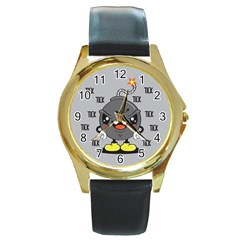 Time Bomb Round Leather Watch (gold Rim)