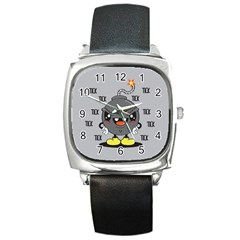 Time Bomb Square Leather Watch