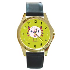 Moshi watch Round Leather Watch (Gold Rim)