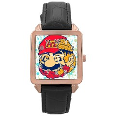 mario zombie Rose Gold Leather Watch