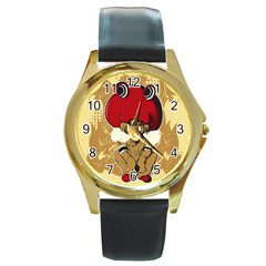 Flan Round Leather Watch (gold Rim)