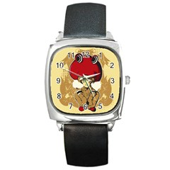 Flan Square Leather Watch