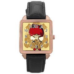 Flan Rose Gold Leather Watch
