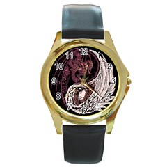 YinYang Round Leather Watch (Gold Rim)