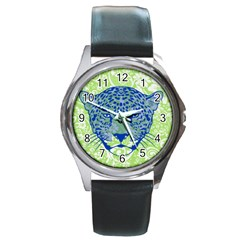 Cheetah Alarm Round Leather Watch (Silver Rim)
