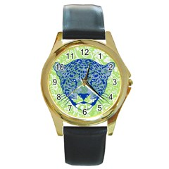 Cheetah Alarm Round Leather Watch (gold Rim)