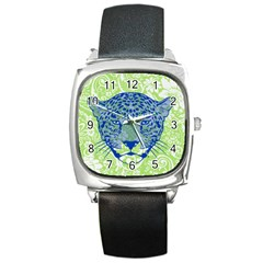 Cheetah Alarm Square Leather Watch