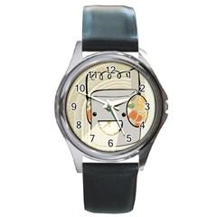 Happy Beam Round Leather Watch (Silver Rim)