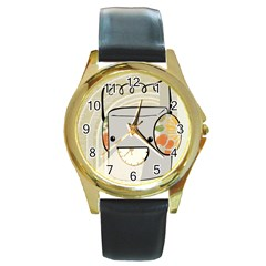 Happy Beam Round Leather Watch (Gold Rim)