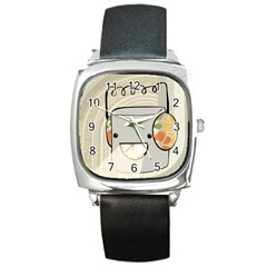 Happy Beam Square Leather Watch