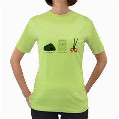 Rock paper scissors Womens  T-shirt (Green)