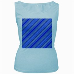 Lines Womens  Tank Top (Baby Blue)