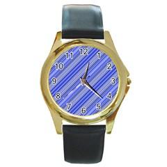 Lines Round Leather Watch (Gold Rim)