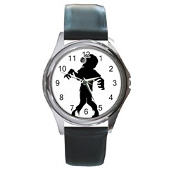 Zombie boogie Round Leather Watch (Silver Rim)