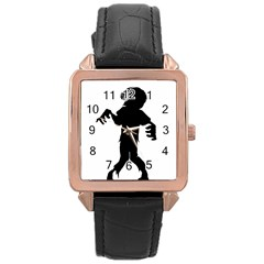 Zombie boogie Rose Gold Leather Watch