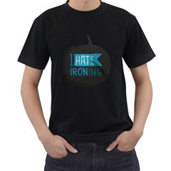 I hate ironing! Mens' Two Sided T-shirt (Black)