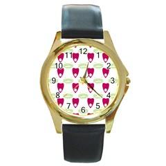 Talking Board Round Leather Watch (Gold Rim)