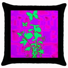 Butterfly Black Throw Pillow Case