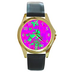 Butterfly Round Leather Watch (gold Rim)