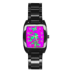 Butterfly Stainless Steel Barrel Watch