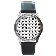 Talking Board Round Leather Watch (Silver Rim)