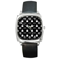 Talking Board Square Leather Watch