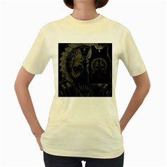 SAW BLADE MASK  Womens  T-shirt (Yellow)