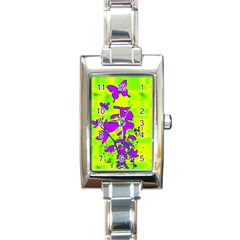 Butterfly Green Rectangular Italian Charm Watch