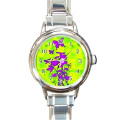 Butterfly Green Round Italian Charm Watch