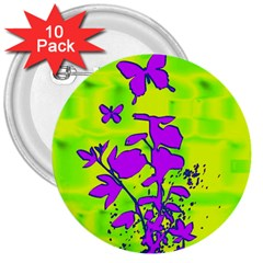 Butterfly Green 3  Button (10 pack)