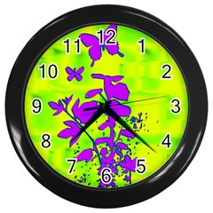 Butterfly Green Wall Clock (black)