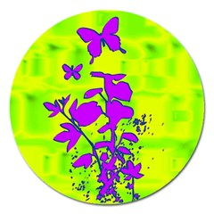 Butterfly Green Magnet 5  (Round)
