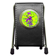 Butterfly Green Stationery Holder Clock