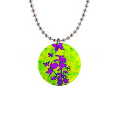 Butterfly Green Button Necklace