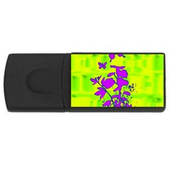 Butterfly Green 4gb Usb Flash Drive (rectangle)