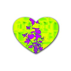 Butterfly Green Drink Coasters 4 Pack (heart)