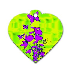 Butterfly Green Dog Tag Heart (Two Sided)