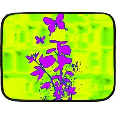 Butterfly Green Mini Fleece Blanket (Two Sided)