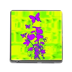 Butterfly Green Memory Card Reader with Storage (Square)