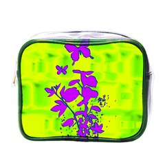 Butterfly Green Mini Travel Toiletry Bag (One Side)
