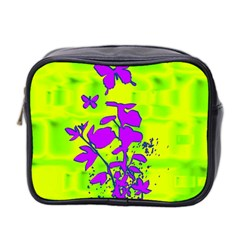 Butterfly Green Mini Travel Toiletry Bag (Two Sides)