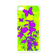 Butterfly Green Apple iPhone 4 Case (White)