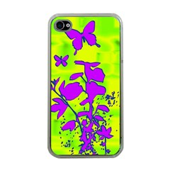 Butterfly Green Apple iPhone 4 Case (Clear)