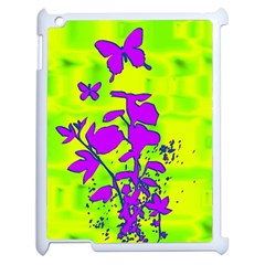 Butterfly Green Apple iPad 2 Case (White)
