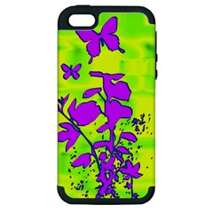 Butterfly Green Apple Iphone 5 Hardshell Case (pc+silicone)
