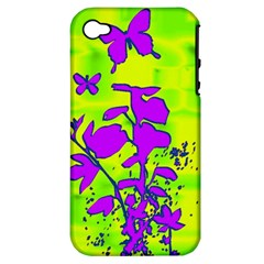 Butterfly Green Apple Iphone 4/4s Hardshell Case (pc+silicone)
