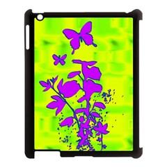 Butterfly Green Apple iPad 3/4 Case (Black)