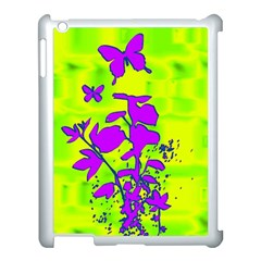 Butterfly Green Apple iPad 3/4 Case (White)