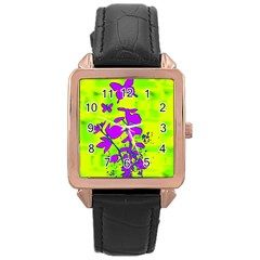 Butterfly Green Rose Gold Leather Watch