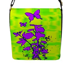 Butterfly Green Flap Closure Messenger Bag (large)